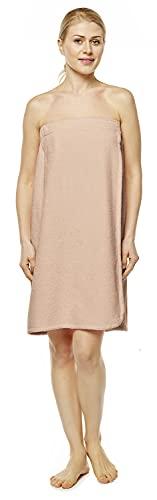 Arus Toalla de sauna para mujer 100% algodón orgánico con goma elástica y cierre de velcro, tamaño: P/S, color: rosa