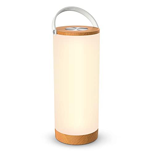 Holz Optik Tischlampe LED vintage Nachttischlampe 3000K Warmweiß stufenlos dimmbar Touch Bedienung kabellos batteriebetrieben mit 4000mAh Akku Merkfunktion Ein-Griff tragbar (Gelb)