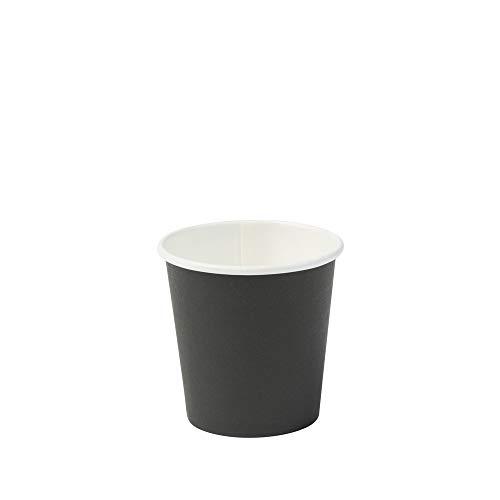 BIOZOYG Bio Pappbecher I Einweggeschirr Trinkbecher Papierbecher kompostierbare und biologisch abbaubare Becher I Schwarze, unbedruckte, umweltfreundliche Kaffeebecher 50 STK 100ml 4oz
