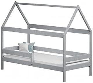 Children's Beds Home - Lit simple en forme de maison - Teddy - Lit simple - Teddy - 140x80 - Gris, matelas en mousse de 9 cm