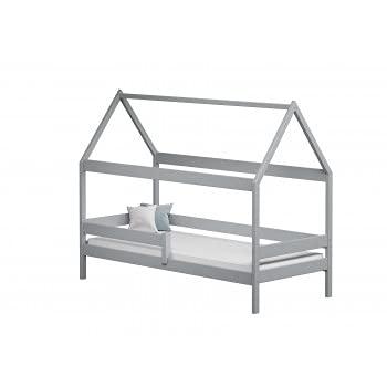 Children's Beds Home - Cama individual en forma de casa con dosel - Teddy - Cama individual - Teddy - 180x80, gris, ninguno, 10 cm de látex y fibra de coco