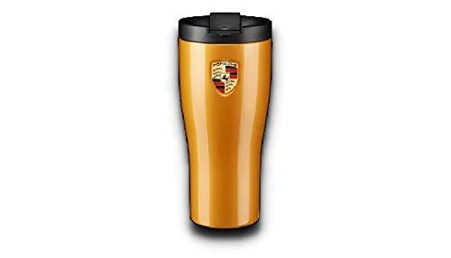 Porsche Thermo Becher Gold Gelb Metallic Edelstahl Schriftzug auf dem Deckel | NUR Hier + Extra Schlüsselring Mit Schraubverschlusss | Set