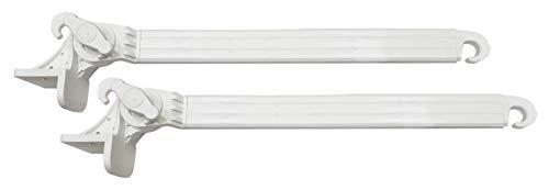 Coppia BRACCETTI per Tenda da Sole A Caduta con Supporti in Acciaio RICOPERTO in PVC, Misura 50 CM, Regolabile a 180°.Colore Bianco
