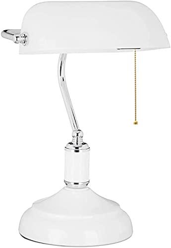 Lámpara de banquero retro de alto rendimiento blanca, lámpara de mesa de dormitorio vintage con interruptor de tiro, lámpara de escritorio de banquero tradicional nostálgica para sala de estar
