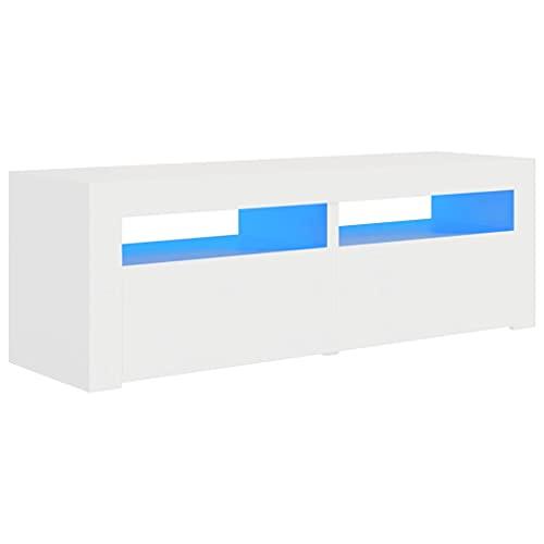 vidaXL Mueble para TV con Luces LED Soporte Armario Aparador Estante Salón Sala de Estar Decoración Entretenimiento Blanco 120x35x40 cm