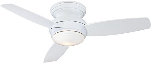 """Minka-Aire F593L-WH Traditional Concept LED 44"""" 3-Blade Ceiling Fan and Wall Control, White (LED Light)"""