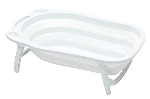 Fillikid Badewanne Dori, faltbare Badewanne Baby, Faltbare Badewanne ab Geburt, Abflussstöpsel mit Thermometerfunktion, Kunststoffbadewanne für Baby, Design:weiß