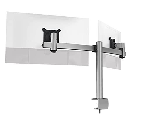 """Durable Monitor Halterung 2 Monitore mit Tischklemme, für VESA Bildschirme 21-27"""", 360° drehbar, neigbar, höhenverstellbar, 508523, silber"""