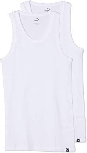 PUMA Herren Basic 2p Tank Top, Weiß (White 300), Medium (Herstellergröße: 020) (2er Pack)