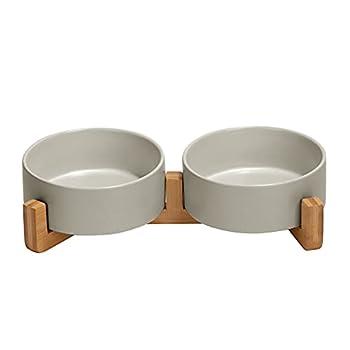 SPUNKYJUNKY Gamelle Double en céramique avec Support en Bambou pour Chat et Chien (400ml, Gris)