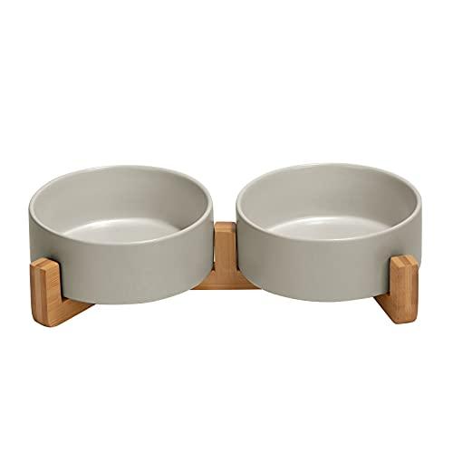 SPUNKYJUNKY Keramik Doppel Hund Futternapf mit Bambus Ständer für Katzen und Hunde (400ml, 2-Grau)