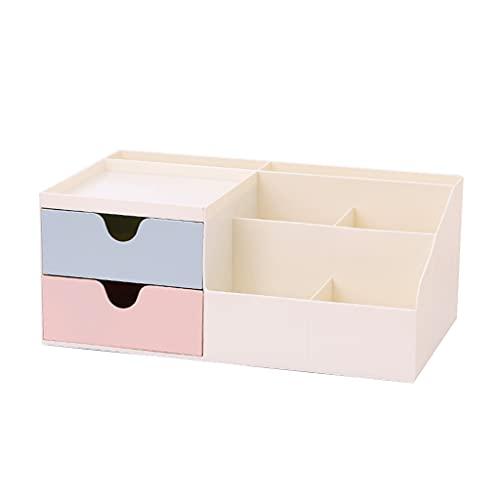 MIORIO Portapenne Multiuso Portaoggetti per Trucco 6 Scomparti 2 cassetti scorrevoli 1 Vassoio portaoggetti per comò da Bagno
