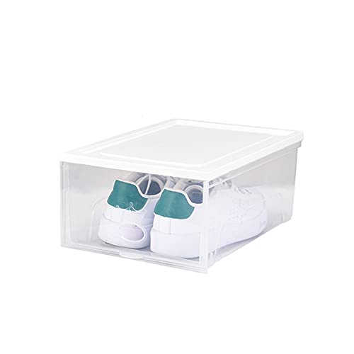 YUANB Hoe Box - Juego de 6 organizador de zapatos con panel frontal transparente, apilable, ahorro de espacio, contenedor de zapatos plegable, color blanco