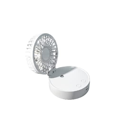 FGHFD Ventilador De Pulverización Plegable De Carga USB De Mano Dormitorio De Escritorio Ventilador Eléctrico De Escritorio Mini Ventilador Colgante De Cuello Pequeño,Blanco