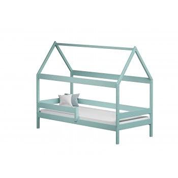 Children's Beds Home - Betthimmel, Einzelbett in Hausform, Teddy – 140 x 80 cm, Türkis, keine Matratze aus Schaumstoff / Kokosnuss / Buchweizen