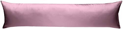 Bettwaesche-mit-Stil Mako-Satin Seitenschläferkissen Bezug aus 100{f2fd08d3bdd9c6c60e007e19f89ae2ac4c6d210adae2d1f323ce1421fcea6132} Baumwolle (Baumwollsatin) Uni/einfarbig (40 cm x 145 cm, Rosa)