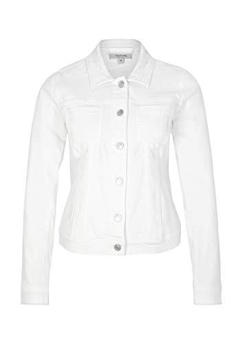comma Casual Identity Damen Weiße Jeansjack mit Ton-in-Ton Floralstickereien Ivory 38