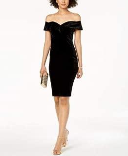 BARDOT Womens Black Velvet Off Shoulder Knee Length Sheath Cocktail Dress US Size: 8