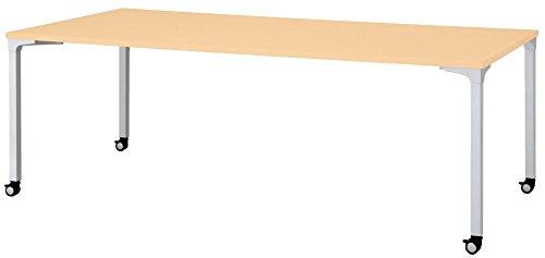 プラス ロンナ 会議テーブル 長方形 キャスター脚 NN-2110PKR 天板ホワイトメープル/脚シルバー