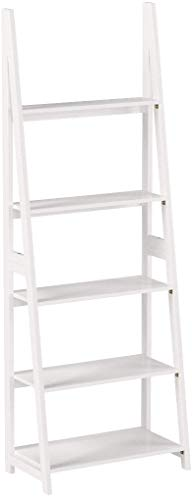 Amazon Basics Modern 5-Tier Ladder Bookshelf Organizer with Solid Rubber Wood Frame, White
