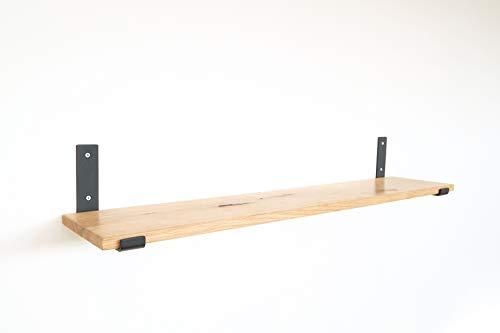 1x Natural Goods Berlin | Design Wandregal Eiche 100cm | viele Farben und Modelle | Regalboden Massivholz Metall Schweberegal hängend, Regalwinkel, Konsole (Regal KREUZBERG (25cm Tiefe), Schwarz)