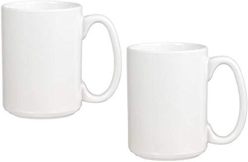 Serami White Ceramic Classic Coffee Mugs Large Handles with 15oz Capacity, Set of 2