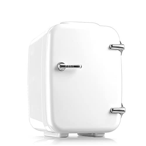 huasa Mini Nevera 4 litros/6 latas, Portátil Mini Nevera Cosmeticos, Mini Refrigerador 12V/220V con Enfriar y Calentar para Hogar, Oficio,Coche,Nevera Pequeña para Skincare, Alimentos, Bebidas,White