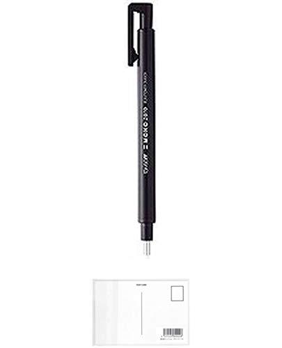 トンボ鉛筆 ホルダー型消しゴム モノゼロ 丸型 EH-KUR11 ブラック 【× 4 個 】 + 画材屋ドットコム ポストカードA
