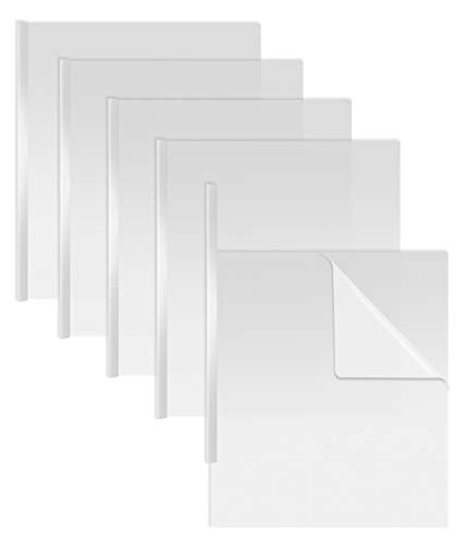 Sliding Bar Clear Report Covers, 50 Per Box, White Slider Bars, Durable 5 mil Poly Thickness, Letter Size, by Better Office Products, Transparent Report Covers with White Slider Bars, Box of 50