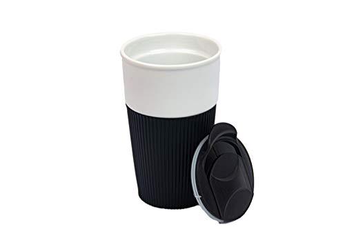 HotDrink2Go Coffee to go Becher, Premium Porzellan, 400ml (Schwarz)
