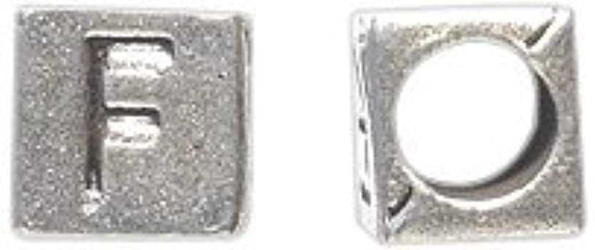 Shipwreck Beads Zinc Alloy Alphabet Cube F Bead, 7mm, Silver, 45-Pack netk87010