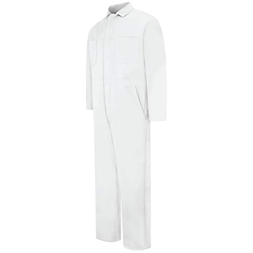 Red Kap Men's Snap Front Cotton Coverall, Oversized Fit, Long Sleeve, Bleached White, 46