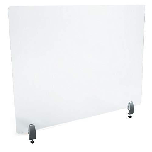 PLEXIDIRECT - Spuckschutz Plexiglas Schutzwand Thekenaufsatz Trennwand Büro Schreibtisch Acrylglas Büroschirm Niesschutz, 3mm Schirm, NINA Tischklemme Silber (0-25mm), 1500 x 650 mm (BxH)