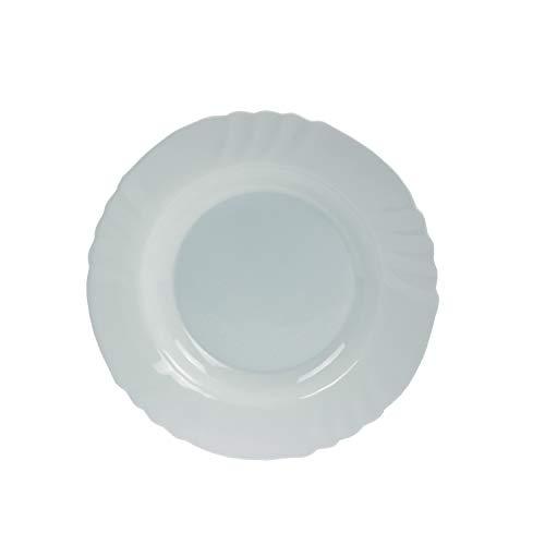 Bormioli Rocco Ebro 6181502Plato Hondo, 23,5cm, vidrio ópalo, blanco - Paquete de 6
