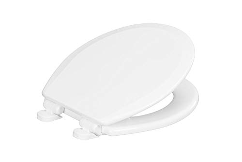Centoco 700SC-001 Round Wooden Toilet Seat Featuring Safety Close, Heavy Duty Molded Wood with Centocore Technology, White