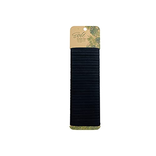 Solé Organic Cotton Biodegradable Elastic Hair Ties for Women, Men, Girls, and Boys. All Hair Types: Long Hair, Medium Hair, Short Hair, Thick Hair, Thin Hair, Curly Hair, Pigtails, Braids, Ponytails, Buns, Ouchless, Painless, Sustainable and Plastic Free Hairties, Hairbands, Metal Free, Black 30 count