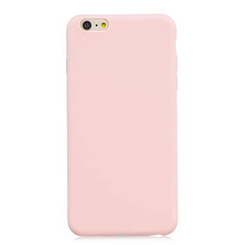 cuzz Funda para iPhone 6/6S Plus+{Protector de Pantalla de Vidrio Templado} Carcasa Silicona Suave Gel Rasguño y Resistente Teléfono Móvil Cover-Rosa Claro