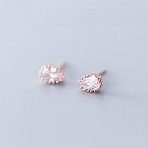 BEWITCHYU Pendientes de Plata S925, Pendientes Sencillos de Moda de Diamantes con Gota de Agua para Mujeroro y rosa, Plata 925