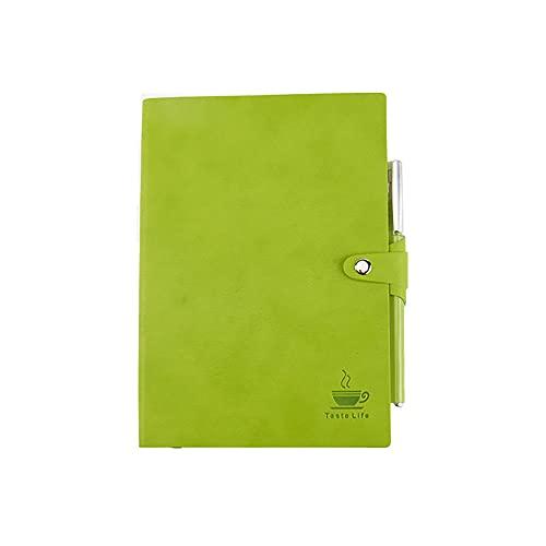 JUGTL Cuaderno Para Estudiante Portátil De Cuero Suave Simple Ruled Diario Reunión De Negocios Portátil Libreta Notas Verde A6 103X15MM
