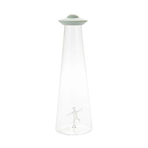 Balvi Botella UFO Capacidad 1,2L En Forma de platillo Volante abduciendo una Persona Borosilicato/Silicona