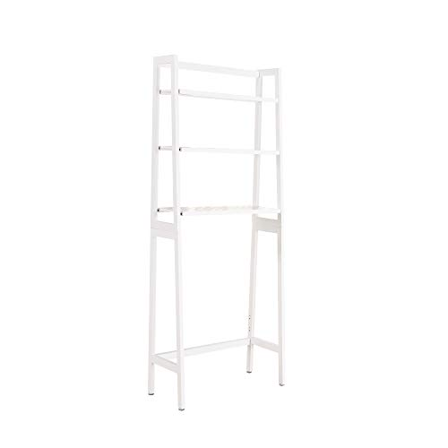 MallBoo Toilet Storage Rack, 3 -Tier Over-The-Toilet Bathroom Spacesaver - 100% Wood and Easy to Assemble (White)
