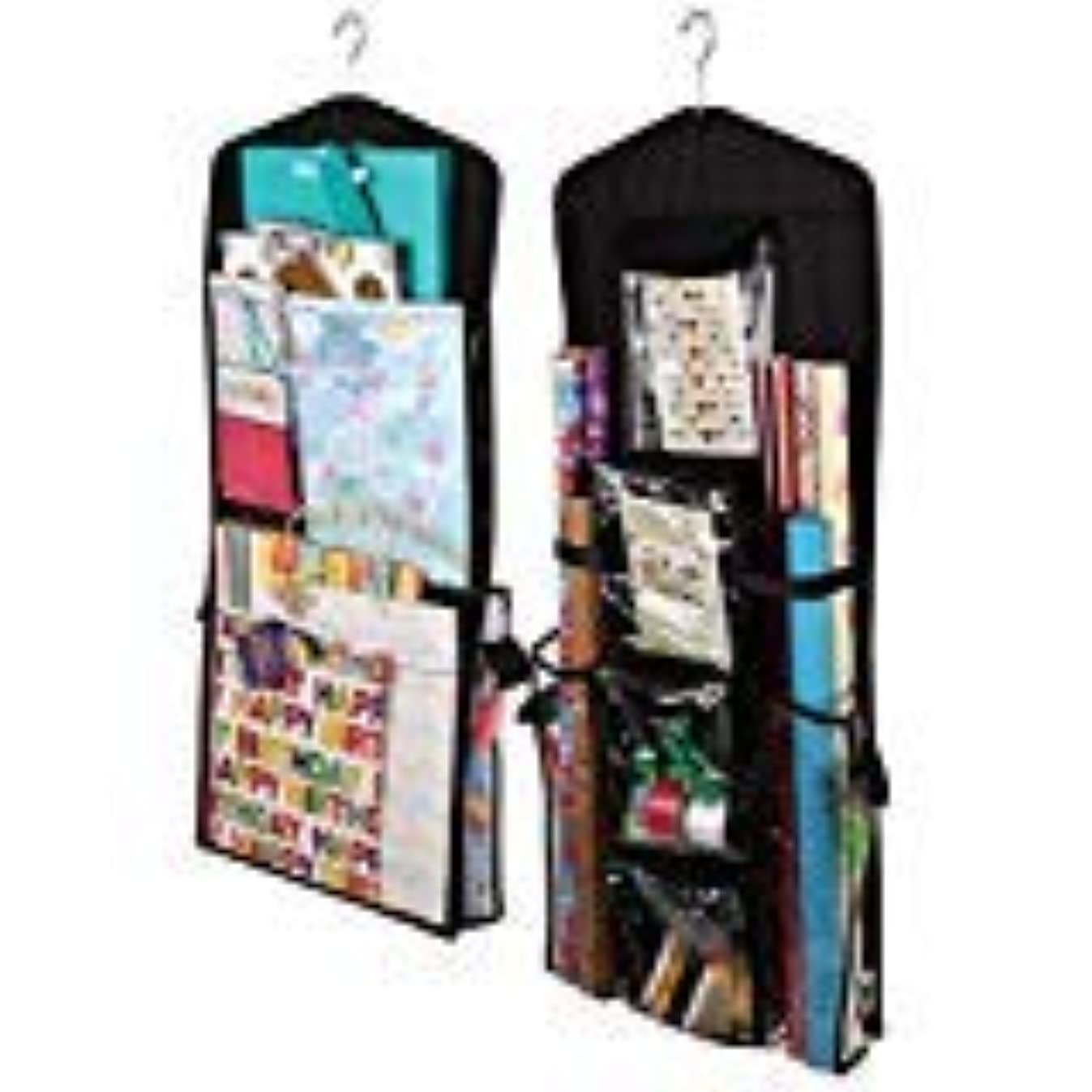 AOTUNO Double-Sided Hanging Gift Wrap Organizer Storage Bag,Wrapping Paper Storage Holder(Black)