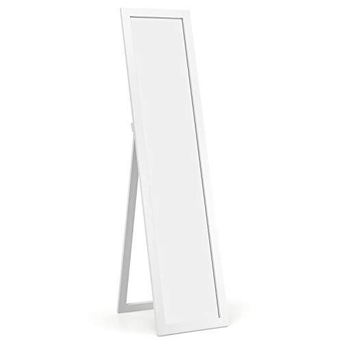 COSTWAY Espejo de Cuerpo Entero Espejo de Pie Espejo de Pared 155 x 37cm con para Dormitorio Salón Entrada (Blanco)