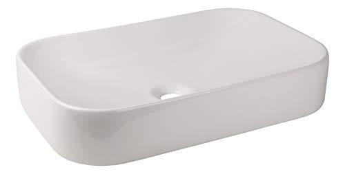 Calmwaters® Eckiger Aufsatz-Waschtisch Weiß, 60 cm breit, Keramik ohne Überlauf, Waschbecken Exclusive 2 zur Aufsatzmontage, Aufsatzwaschtisch eckig, 05AB5550