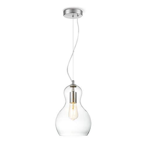 Klarglas vintage hänglampa, Bello hängande lampa retro look. DEKRA-certifierad pendellampa i en stilla design. E27 sockel. Diameter 21 cm. Perfekt för LED.