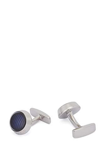 BOSS Herren Harper Runde Manschettenknöpfe aus Messing mit Streifen und transparenter Emaille