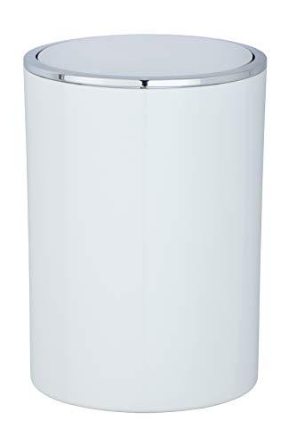 WENKO Schwingdeckeleimer Inca White - Abfallbehälter mit Schwingdeckel Fassungsvermögen: 5 l, Kunststoff (ABS), 18.5 x 25.5 x 18.5 cm, Weiß