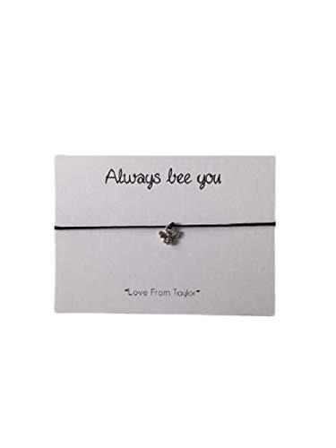 Bee adjustable wish bracelet, Bumble bee Jewellery gift, Cord Bracelet, black cord