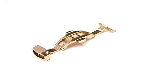 『腕時計 ベルト 21mm レザー クロコダイル型押し 牛 革 青 プッシュ式 Dバックル ピンク ゴールド l001bu-pd-p』の4枚目の画像
