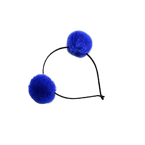 Haoooanfd Cinta Pelo, 1 Ordenador Personal Diadema de la Bola de Piel mullida Colorida, Las niñas Mujeres Princesa Tocado Accesorios para el Cabello Party Pompon Headwear (Color : Blue)